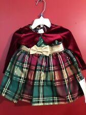 BONNIE BABY Baby Girl's Holiday Plaid Fancy 3-pc Dress Set - Size 3-6M - NWT