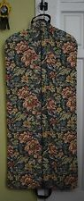 Vintage Floral Zip Up Hanging Travel Luggage Garment Bag Made In U.S.A Excellent