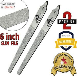 """German Stainless Steel 6"""" Toe Nail Diamond Deb File Manicure Pedicure Set Of Two"""