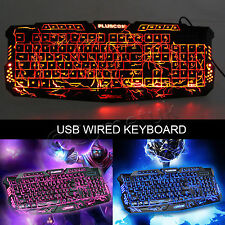 3 Color Illuminated LED Backlight USB Wired Multimedia Laptop PC Gaming Keyboard