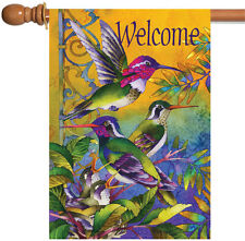 Toland Hummingbird Home 28 x 40 Colorful Welcome Bird Flower House Flag