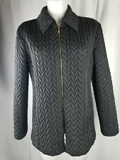 Woman St. JOHN SPORT BY Marie Gray S black zip coat jacket collar quilted puffer
