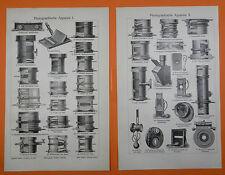 Photographische Apparate I-IV Zeiss Voigtländer Goerz Busch Kodak  Stich v. 1906