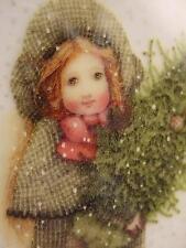 NEW HOLLY HOBBIE 1994 MERRY CHRISTMAS Sister ORNAMENT AGC OVAL Girl w TREE NOS