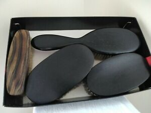 Antique Collection of Ebony Wood Oval Dressing Table Brushes