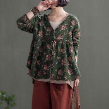 Womens Cotton Linen Floral Shirt Baggy Long Sleeve Lolita Blouse Mori Girls Tops