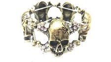 5 Skulls B-Gold Stainless Steel Strech Bracelet  Bangle type with white stones