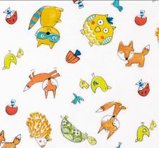 1YD FOX PLAYGROUND Animal Toss White Kids Baby Dena Designs Free Spirit Fabrics