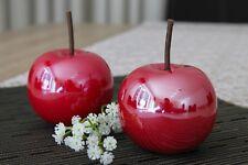 2 x Deko Apfel 10cm Keramik rot glasiert glänzend Objekt Dekoapfel Figur Obst