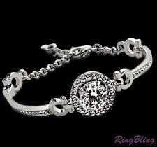 REDUCED! Ladies Crystal Bangle Bracelet - Large 4ct Crystal - 18K White Gold PLT