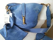 NEW $2300 GUCCI  Jackie Bucket Soft Suede Shoulder Crossbody Bag Purse  Blue