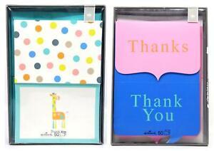 Hallmark Thank you Giraffe/Polka Dot, Pink/Blue Blank Cards + Envelopes (100ct)