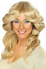 WOMENS WAVE BLONDE 70s FLICK WIG LADIES CURLY FANCY DRESS FARRAH FAWCETT HAIR