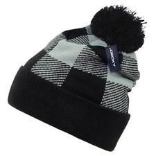 Grey Black Plaid Pom Watch Cap Beanie Knit Winter Stocking Hat Snowmobile Decky