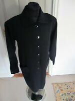 1970's Vintage Yves Saint Laurent Dress YSL Black Wool Shirt Dress UK 14 F 42