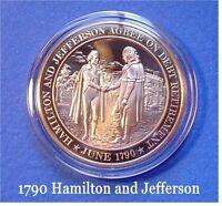 1790 JEFFERSON and HAMILTON Agree On Debt ~ Franklin Bronze Commemorative Coin