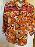 Womens Size Medium Choices Orange Multicolor Button up