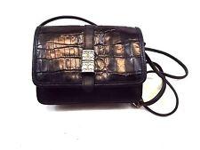 Brighton Handbag, Purse Crossbody Bag Croco Embossed Black Leather Small