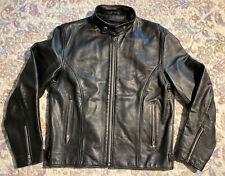 🎼WILSONS Black Leather Men's Motorcycle Jacket Biker Riding Rocker Size M NICE