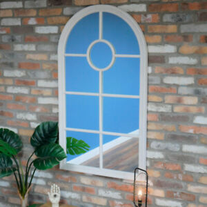 Large Rustic White Arched Window Mirror farmhouse country vintage outdoor decor