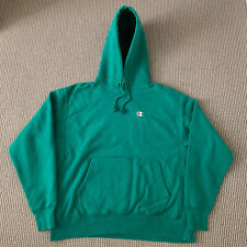 Vintage Champion Reverse Weave Green Warm Up Sweatshirt Hoodie Size Large L