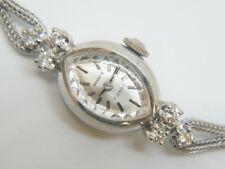 VINTAGE HAMILTON BIG DIAMOND LADIES WRIST WATCH 14K WHITE GOLD ESTATE ANTIQUE