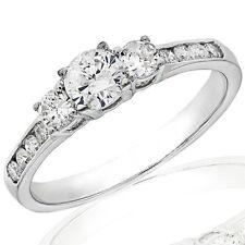 1.10Ct Three Stone Diamond Engagement Ring in 14K White Gold (Not Enhanced)