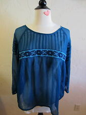LUCKY BRAND Women's Size Medium 3/4 Sleeve Sheer Top with Embroidery Emerald
