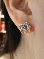 22k gold plated fashion CZ stud earrings(flower) Womens fashion Jewellery, NWT