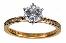 14K Yellow Gold Diamonique Eternity Solitaire 2.05 carats ring size 5