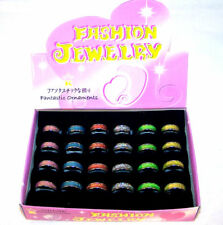 24 GLITTER BAND RINGS costume mens ring womens fashion jewelry wholesale lots