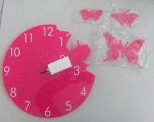 Orologio analogico da parete con 3 farfalle in volo colore fucsia rosa ø 30 cm