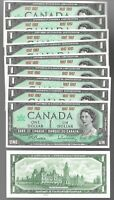 Canada $1 (1867-1967) WITHOUT SERIAL - AUNC Banknotes - Lot of 10 Notes