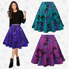 Womens Butterfly Vintage Retro 50s Rockabilly Jive A Line Swing Skirt Mini Dress