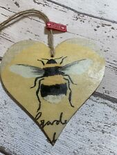 SHABBY CHIC Decoupage Wooden Heart 12cm Bumble Bee Gift Home Tag