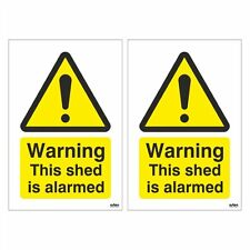 Pack of 2 Warning This Shed is Alarmed Signs 100mm x 150mm (Self Adhesive)