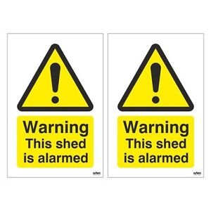 Pack of 2 Warning This Shed is Alarmed Signs 100mm x 150mm Rigid Plastic