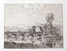 Jean-Charles Cazin Le Pont de Pierre  Eau-Forte originale  1897