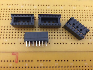 14 Pin IC Socket DIP Through Hole PCB Solder Tail Bifurcated Contacts Multi Qty