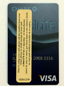 VISA CHASE SLATE Collectible - DEBIT Card EXPIRED RARE VERTICAL CARD w/ Sticker