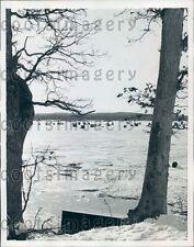 1958 Ice Fisherman Bob Houses Frozen Great Bay Portsmouth NH Press Photo