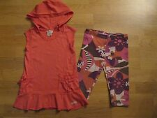 Naartjie Set Hooded Tunic Sunset Coral Village Floral Pedal Capris size 4 and 5