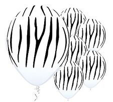 Zebra Tiger Striped White Balloons x 6 Jungle Safari Zoo Animal decoration
