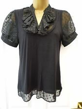 F&F Ladies Size 10 Black Ruffle V Neck Short Sleeve Stretchy Tunic Blouse Top