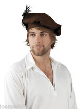 New Adult Mens Medieval Renaissance Fancy Dress Brown Beret Hat Cap With Feather
