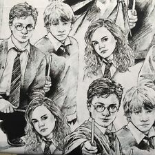 Cotton Quilt fabric Print fabric (HARRY POTTER CHARACTERS GRAY) per meter