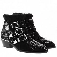 Barely Worn.Chloe Susanna Shearling Lined Studded Boots.black/sliver.3/36(fit 4)