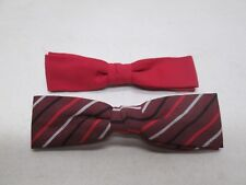 Vintage Mens Bow Tie Lot of 2 Ormond Beau Clip Solid Red Striped