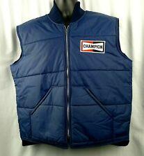 Men's Vintage Champion Spark Plug Nylon Zip Vest Navy Blue Size XL Canada 80's