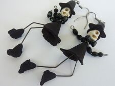 Gothic Skull Witchy Halloween Beaded Earrings Handmade Costume Jewellery